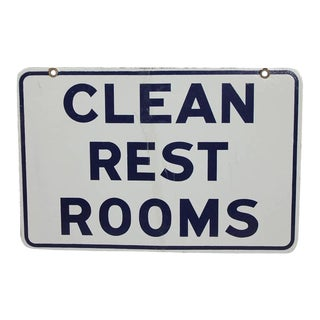 "1950's Porcelain "" Clean Rest Rooms"" Double Sided Sign"