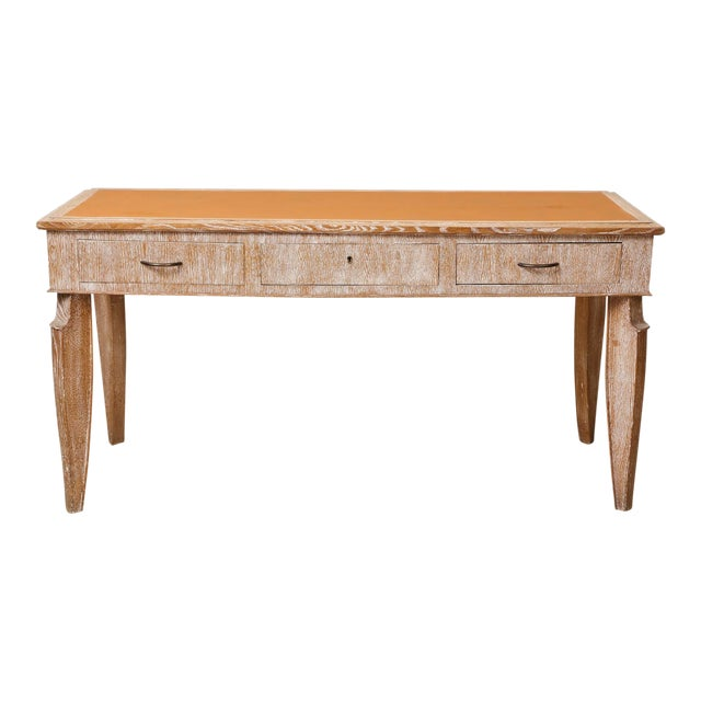 French 1940s Cerused-Oak Leather Top Console/ Writing Desk For Sale