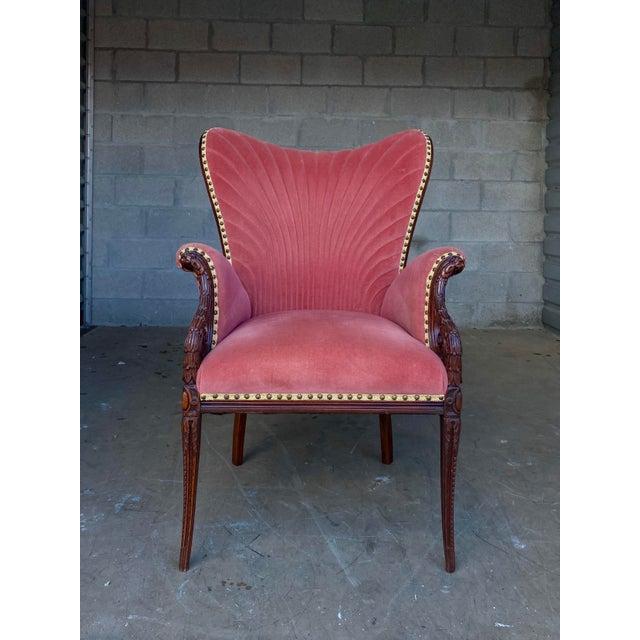 Rose Vintage Pink Velvet High Back Chair For Sale - Image 8 of 10