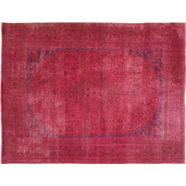 Pink Floral Overdyed Oriental Area Rug - 9' x 12' - Image 1 of 10