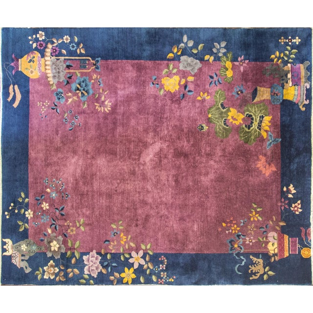 The materials are from vegetable dyes wool pile over cotton foundation. The pattern is floral in deco style. This...