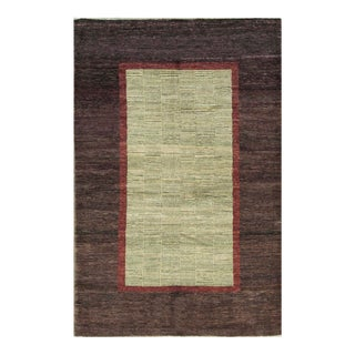 Contemporary Hand Woven Wool Rug - 5'10 X 9' For Sale