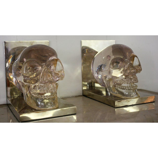 French 70's Lucite Skull Bookends For Sale - Image 4 of 7