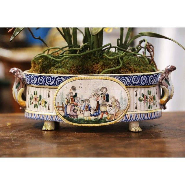 19th Century French Hand Painted Faience Jardinière Signed Hb Quimper For Sale In Dallas - Image 6 of 13