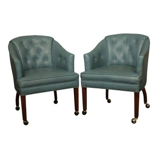 Mid Century Blue Tufted Vinyl Pair Club Chairs For Sale