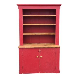 French Made Reclaimed Wood & Painted Red Country Primitive Pantry Hutch C1980s For Sale