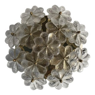 Ernst Palme Floral Glass Flush Mount Lamp For Sale