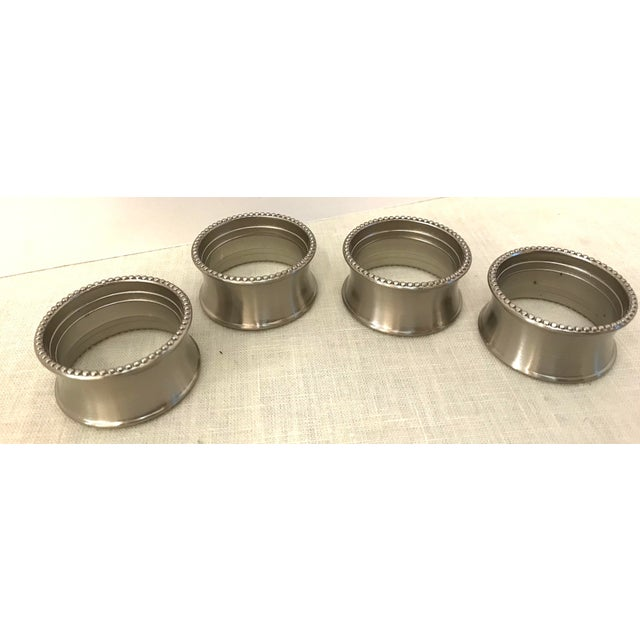 Late 20th Century Late 20th Century Vintage Stainless Steel Napkin Rings - Set of 4 For Sale - Image 5 of 7