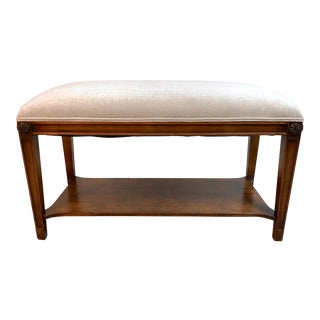 Vintage Restored Upholstered Bench in Mahogany For Sale