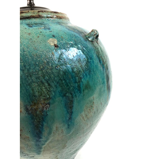Blue Large Green Glazed Art Pottery Lamp For Sale - Image 8 of 13