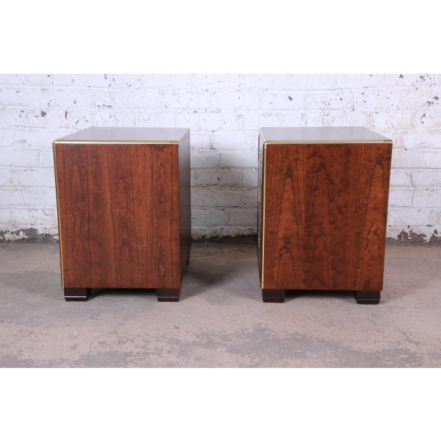 Baker Furniture Campaign Walnut and Brass Nightstands - a Pair For Sale - Image 9 of 13