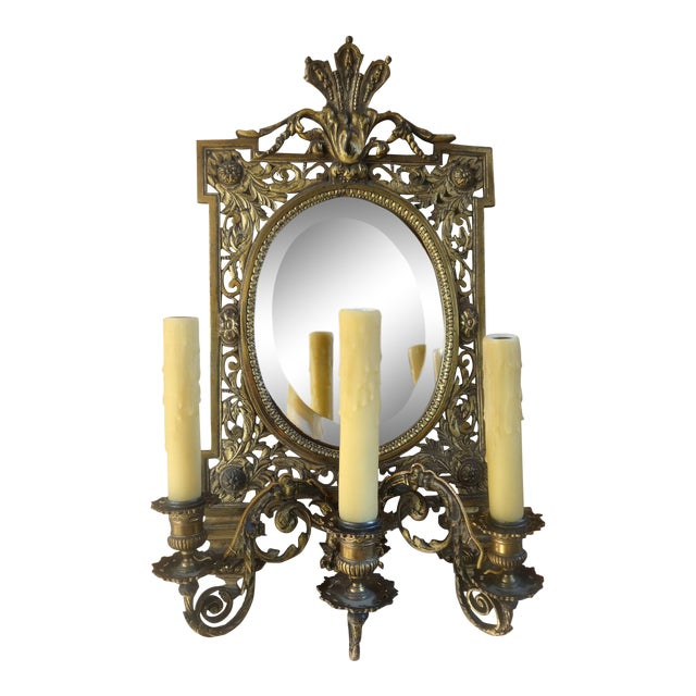 Antique French Brass Wall Sconce Light Fixture Beveled Oval Mirror Art Nouveau For Sale