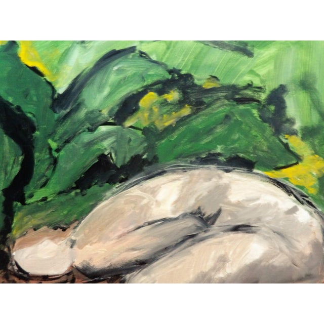 Rich Green Color surrounds a figure in this passionate painting. The size is 24 x 20. The Painting is signed on the back...