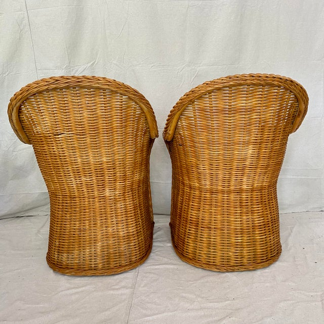 Late 20th Century Vintage Woven Wicker Chairs With Braided Trim - a Pair For Sale - Image 5 of 13