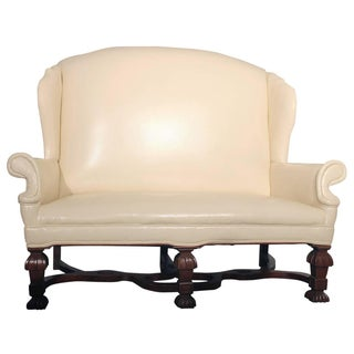 Antique William & Mary Wingback Settee For Sale