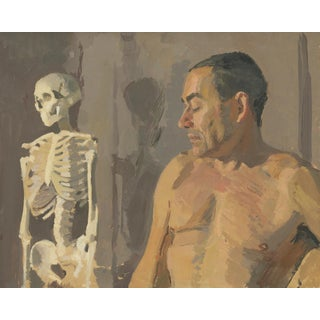 Figure With Skeleton Original Oil Painting