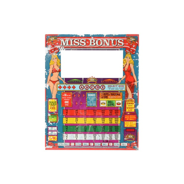 "Wi-MI ""Miss Bonus"" Pinball Glass - Image 1 of 3"