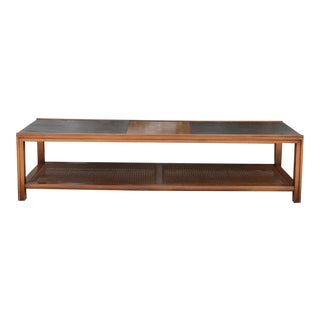 Vintage 1960's Long Coffee Table With Cane Accent For Sale