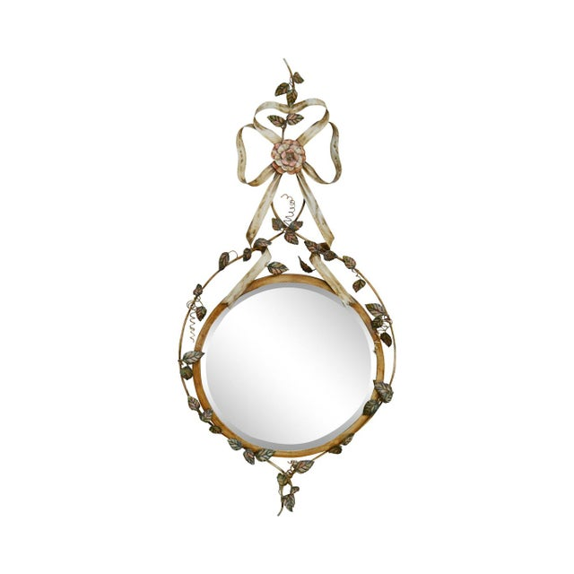 LaBarge Italian Floral Hand Painted Tole Metal Beveled Wall Mirror For Sale - Image 13 of 13