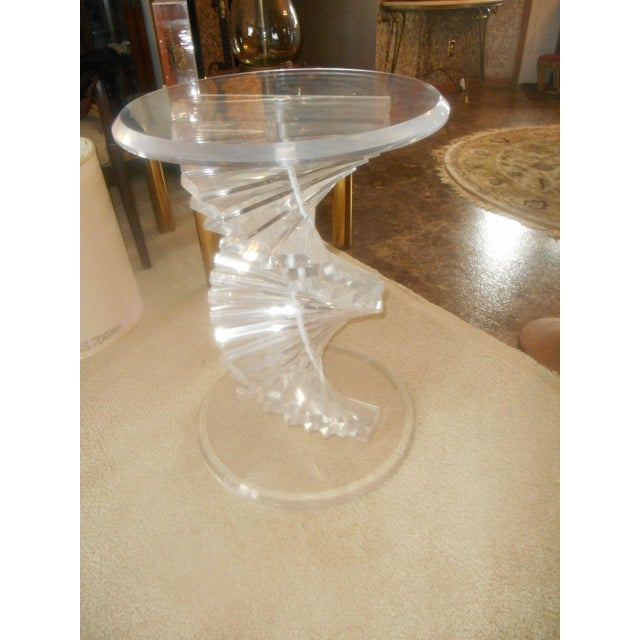 Vintage Lucite Helix Spiral Stacked Block Table Base - Image 2 of 8