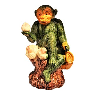 Mid Century Chinoiserie Ceramic Monkey Figurine Uniquely Collecting Altar Fruit. For Sale