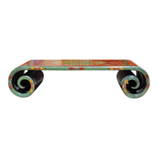 Chinese Tibetan Distressed Red Yellow Green Lacquer Scroll Coffee Table Cs5795 For Sale