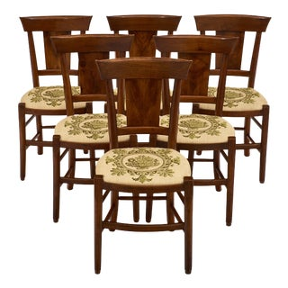 Six Directoire Period Walnut Dining Chairs For Sale