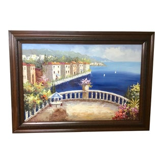 Large Framed Mediterranean Harbor Oil Painting - Signed Original For Sale