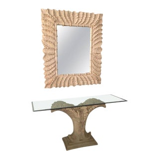 Tropical Palm Tree Faux Bamboo Console Table & Mirror - A Pair For Sale