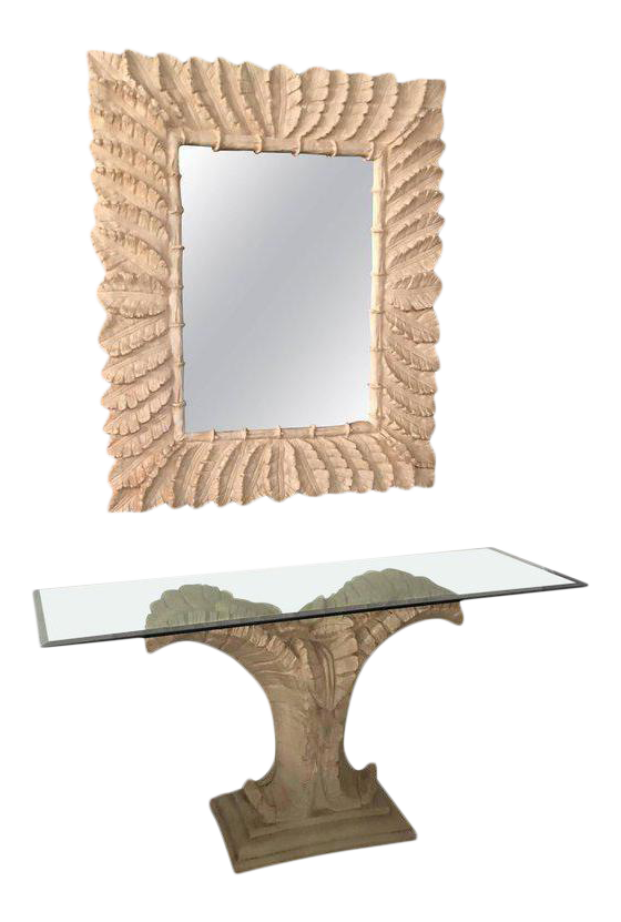 Tropical Palm Tree Faux Bamboo Console Table U0026 Mirror   A Pair