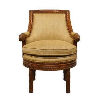 Late 20th Century Vintage Maitland Smith Furniture French Regency Accent Bergere Chair For Sale