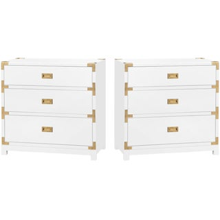 Bungalow 5 Victoria 3-Drawer Lacquer Campaign Side Table Nighstands with Brass Detail – A Pair