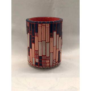 Colorful Mosaic Brush Pot by Artist E. Veglia Preview