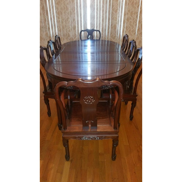 Vintage Chinese Rosewood Carved Dining Set For Sale - Image 4 of 13