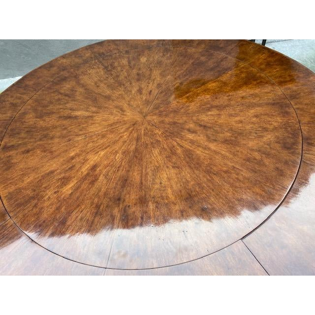 Transitional 1970s Thierin Round Dining Table With Leaves For Sale - Image 3 of 13