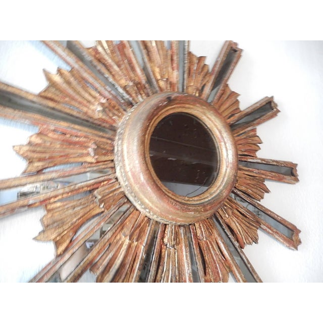 1900 Italian Giltwood Starburst Mirror with Mirrored Rays For Sale In Los Angeles - Image 6 of 11