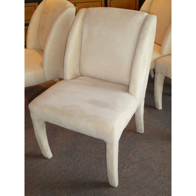 1980's Directional Scupltural Ultra Suede Modern Dining Chairs - Set of 4 For Sale In Miami - Image 6 of 13
