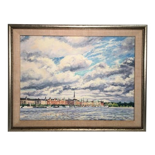 """Old Stockholm"" Oil on Canvas Painting by Thomas Van Stein For Sale"