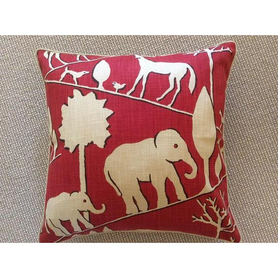 Jungle Walk in Cardinal Pillow Covers - a Pair For Sale - Image 4 of 5
