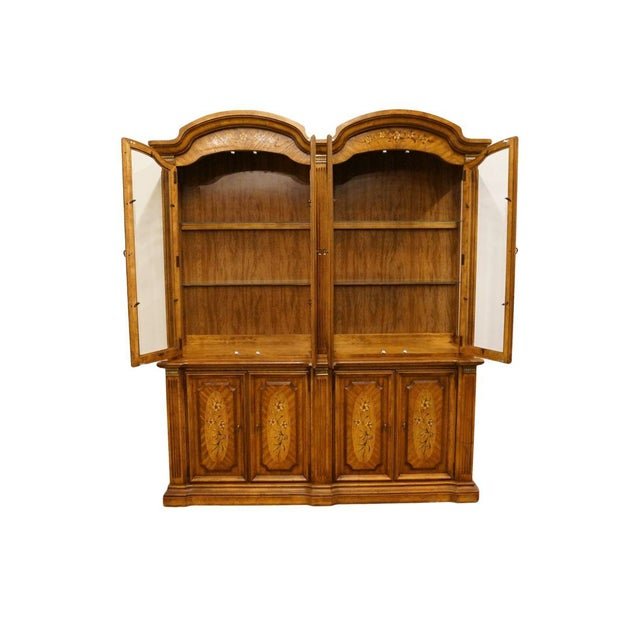"""Stanley Furniture 20th Century Italian Stanley Furniture 71"""" Buffet with Lighted Display China Cabinet For Sale - Image 4 of 13"""