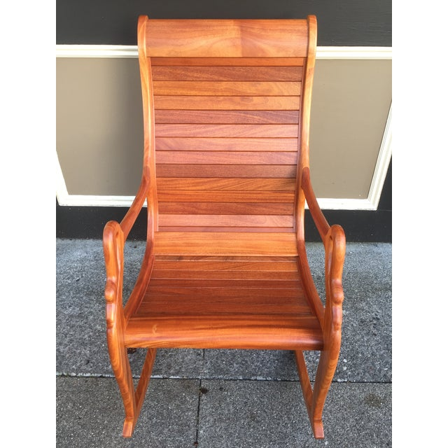 Solid Cherry Wood Rocking Chair For Sale - Image 4 of 11