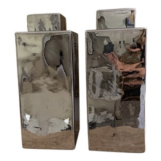 Large Modern Silvered Ceramic Rectangular Cannisters- a Pair For Sale