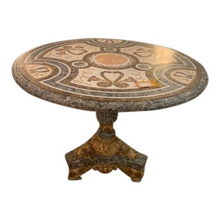 Traditional Marble Inlay Foyer Table For Sale