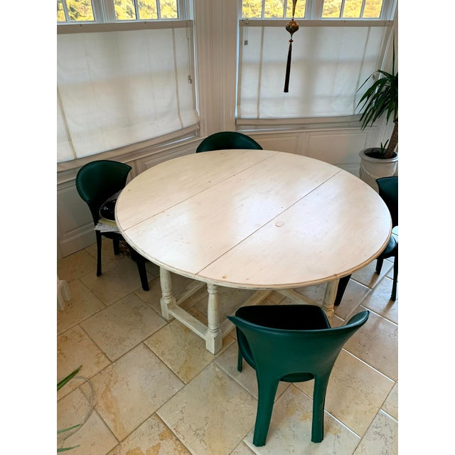 Boho Chic 1990s Shabby Chic Natural Wood Round Dinning Table For Sale - Image 3 of 9