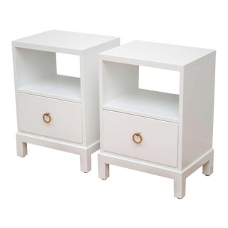 Widdicomb White Lacquered Nightstands - a Pair