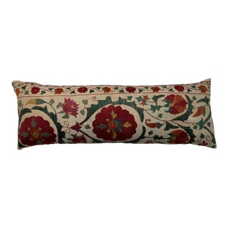 Hand Embroidered Suzani Lumbar Pillow For Sale