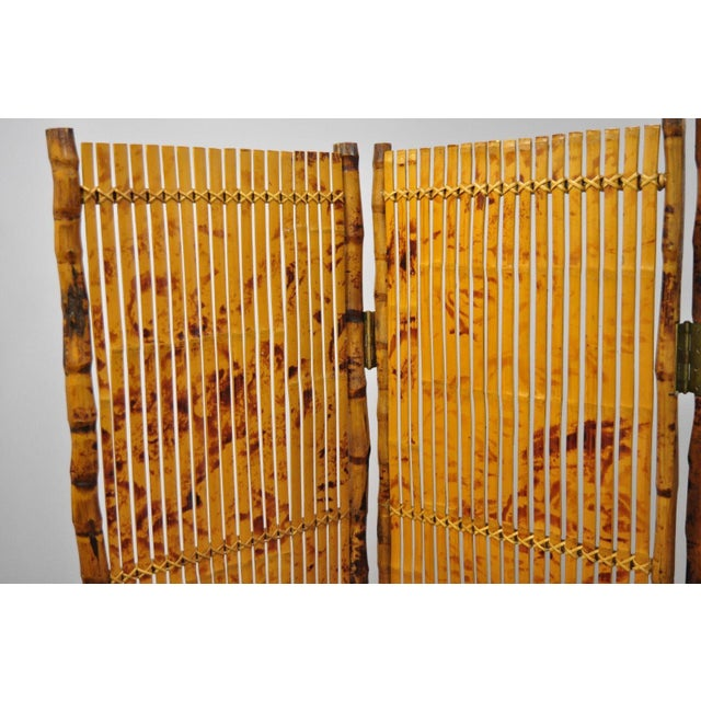 Late 20th Century Bamboo Wood Panel Room Divider For Sale - Image 4 of 10