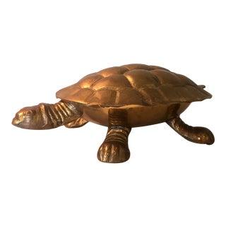 Brass Turtle Lidded Trinket Box
