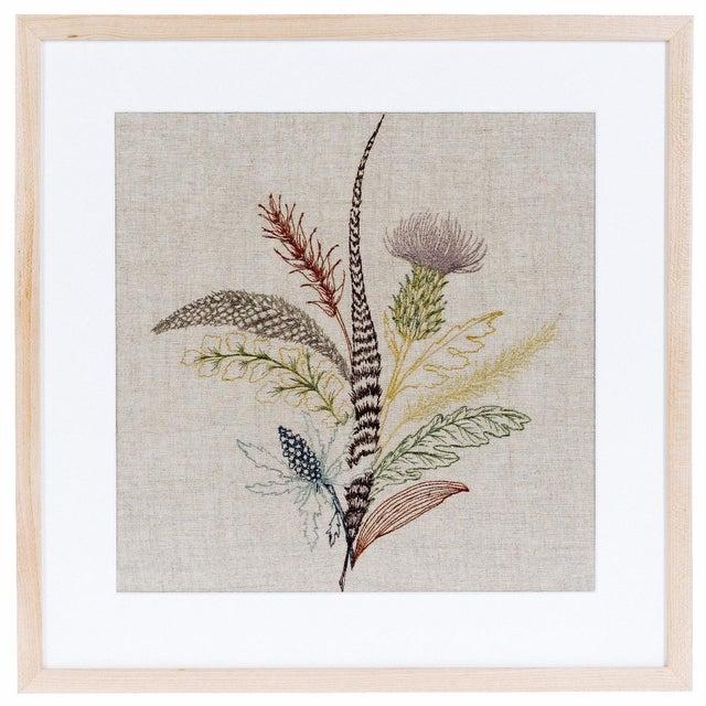Boho Chic Thistle Framed Textile Art For Sale - Image 3 of 3