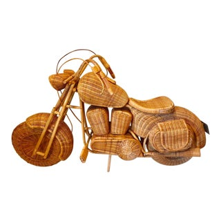 Harley Davidson Style Life Size Wicker, Rattan and Bamboo Chopper Motorcycle For Sale